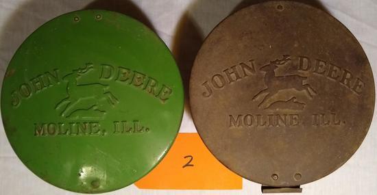 2 John Deere Pressed Steel Planter Lid
