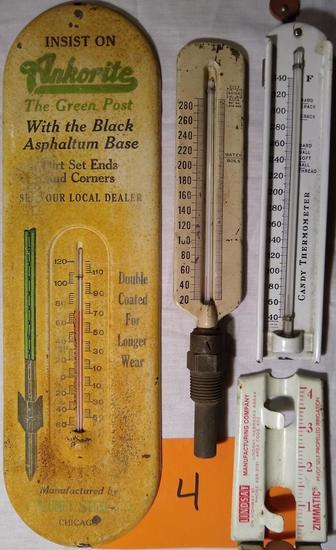3 Thermometers & Lindsay Rain Gauge