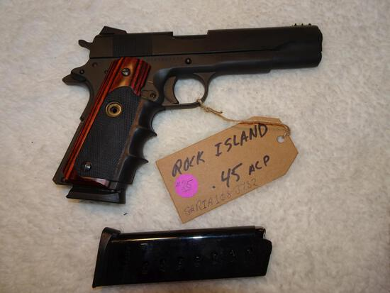 Rock Island 1911 45 cal Semi Auto Pistol w/2 clips Day Glow Sights