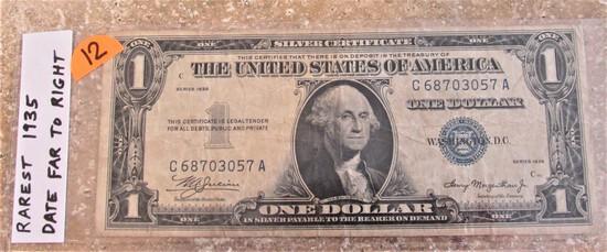 Rarest 1935 Date Far to Right $1 Silver Certificate