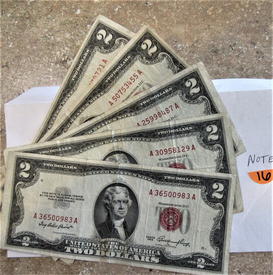 5 Old Red Seal $2 Notes