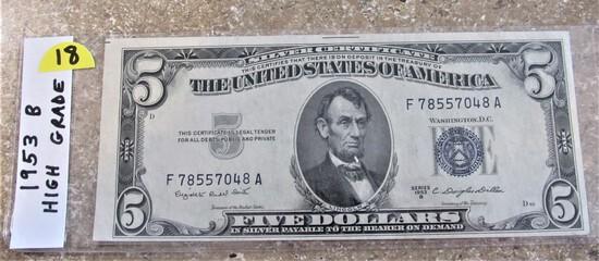 1953 B High Grade $5