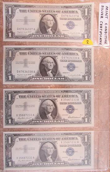 Four Mint Condition Silver Certificates