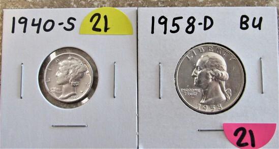 1958-D BU Quarter, 1940-S Dime
