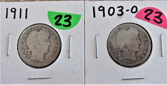 1903-O, 1911 Barber Quarters