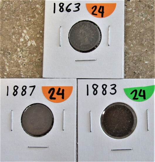 1863, 1883, 1887 Indian Cents