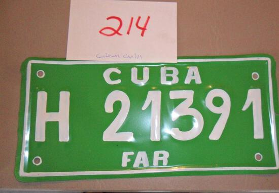Cuba License Plate-Green