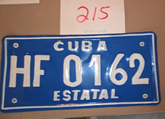 Cuba License Plate-Blue