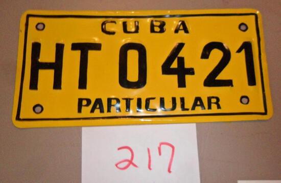 Cuba License Plate-Yellow