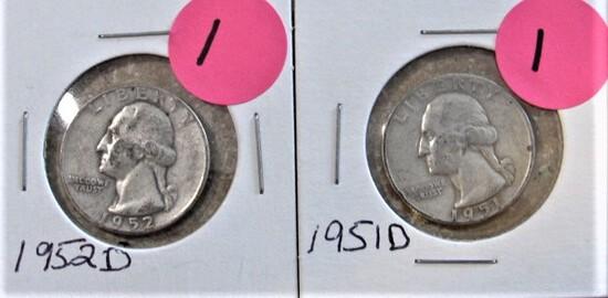 1951-D, 1952-D Quarters