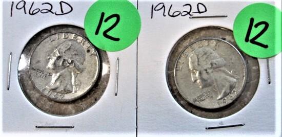 (2) 1962-D Quarters
