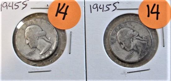 (2) 1945-S Quarters