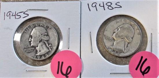 1945-S, 1948-S Quarters