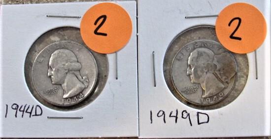1944-D, 1949-D Quarters
