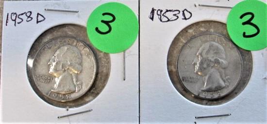1953-D, 1958-D Quarters