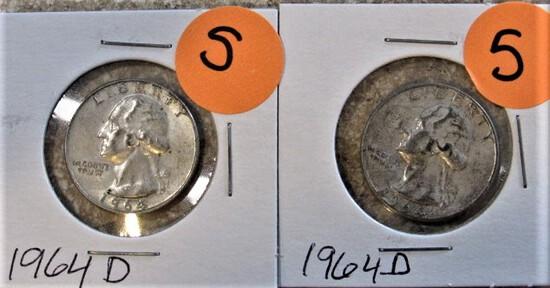 (2) 1964-D Quarters