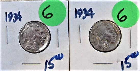 (2) 1934 Buffalo Nickels