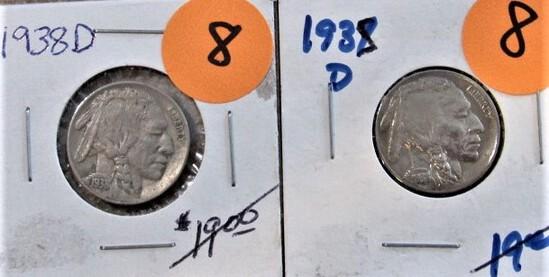 (2) 1938-D Buffalo Nickels