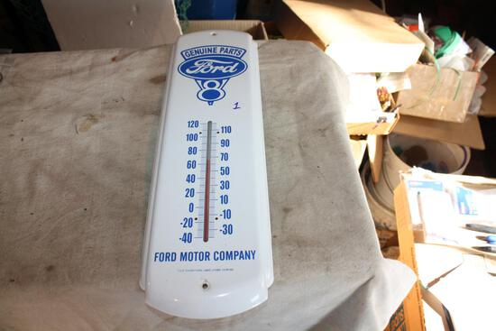 Vintage Ford V8 Enamel Thermometer 17 1/2 Inches x 5 Inches