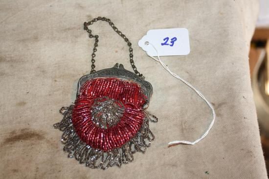 Antique glass bead pocket purse