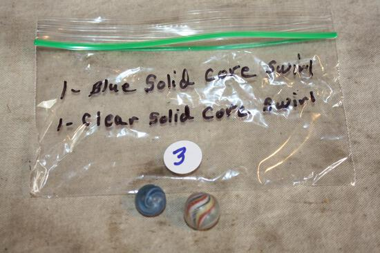 Blue Solid Core Swirl and clear solid core swirl marbles 9/16 and 5/8 Antique
