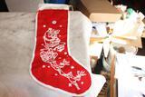 Antique Cloth Santa and Reindeer Stocking