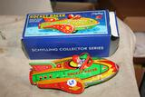Vintage tin toy rocket racer, has noise maker, great toy, box