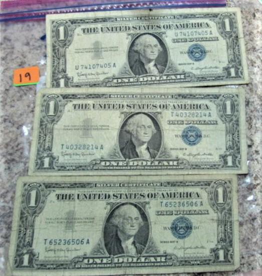 (3) 1957B Silver Certificates