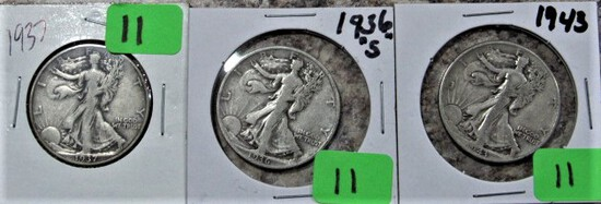 1937, 36-S, 43 Walking Liberty Half Dollars