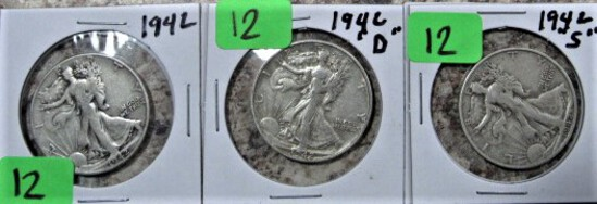 1942, 42-D, 42-S Walking Liberty Half Dollars