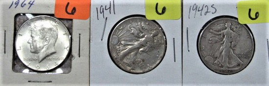 1964, 41, 42-S Kennedy Half Dollars