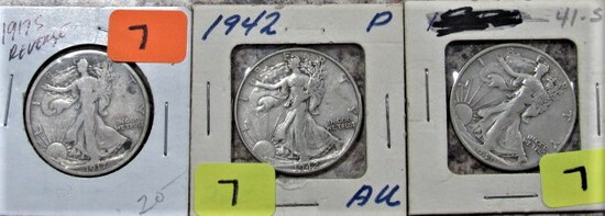 1917-S, 42, 41-S Walking Liberty Half Dollars