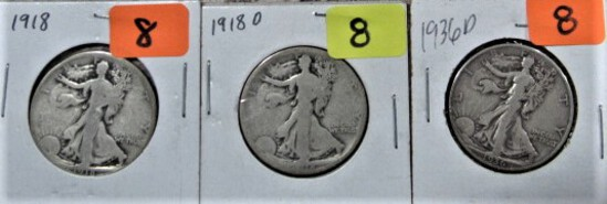 1918, 18-D, 36-D Walking Liberty Half Dollars