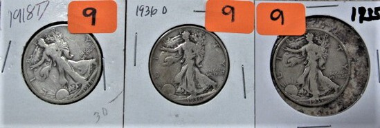 1918-D, 36-D, 35 Walking Liberty Half Dollars