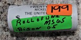 Roll of UNC MS65 Bison Nickels