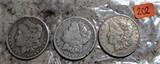 1890-O, 1899-O, 1921-S Morgan Dollars