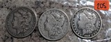 1883-S, 1889-O, 1889-O Morgan Dollars
