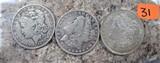 1879-O, 1881-O, 1921-S Morgan Dollars