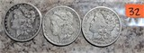 1883-O, 1881, 1891-O Morgan Dollars