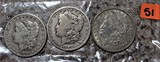 1899-O, 1901-O, 1921-D Morgan Dollars