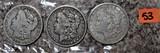 1891-O, 1900-O, 1921-S Morgan Dollars
