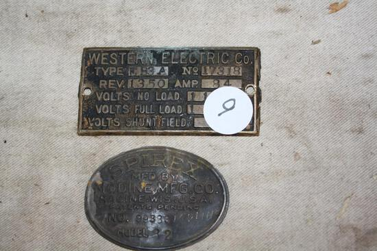 Brass Tags Western Electric and Spirex