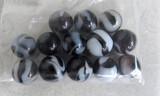 13 black/white swirl marbles