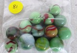 13 green/red swirl marbles