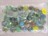 37 various swirl marbles