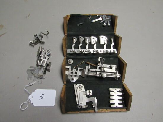 Wood Folding Box w/ Treadle Sewing Machine Parts