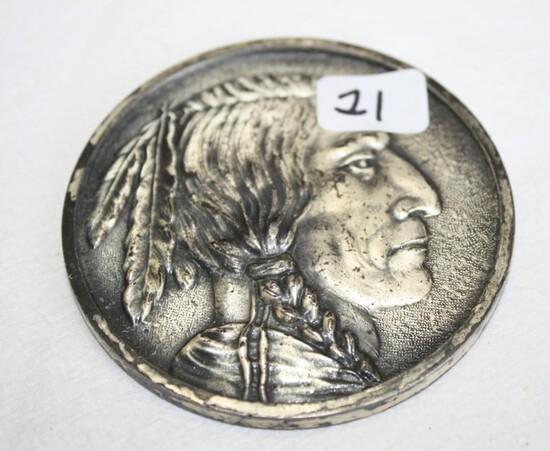 Large Indian Head Souvenir Nickel K&O Co. USA