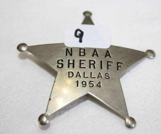 NBAA Sheriff Badge, Dallas 1954