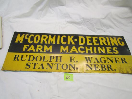 Old McCormick Deering Farm Machines Embossed Sign
