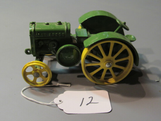 diecast JD tractor w yellow iron wheels